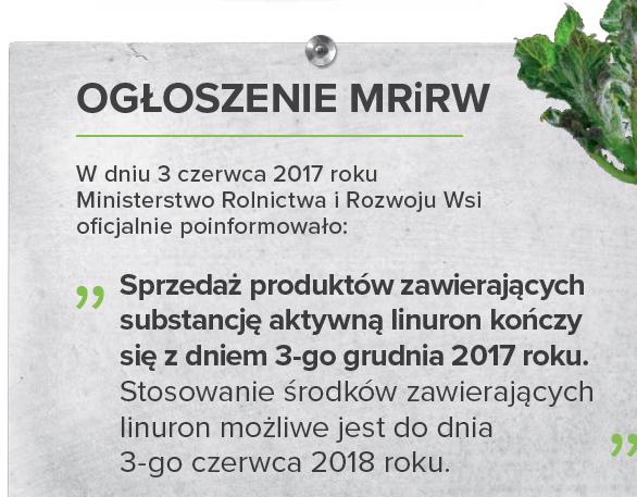 Substancja aktywna Linuron pozostaje w obrocie tylko do końca roku 2017 - Linurex 500 SC