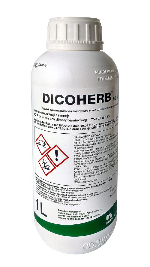 Dicoherb, środek chwastobójczy, herbicyd, zwalcza jednoroczne chwasty dwuliścienne, uprawa pszenicy, jęczmienia i owsa. Agrosimex.