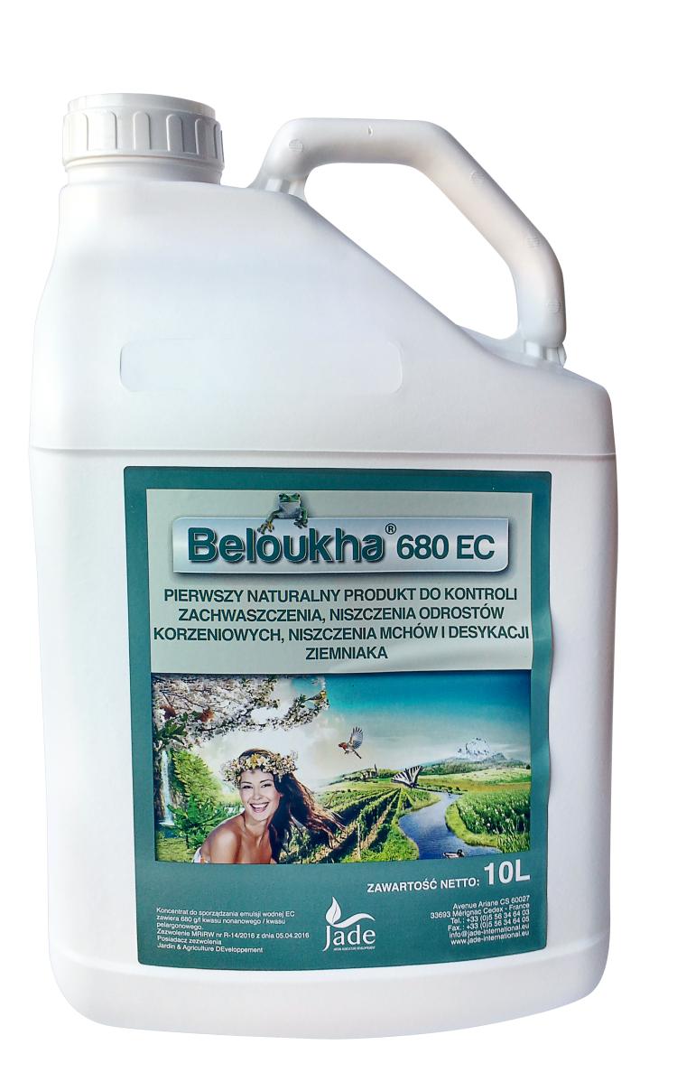 Beloukha, herbicyd, środek chwastobójczy, do stosowania w uprawach winorośli, jabłoni, śliwy i ziemniaka.