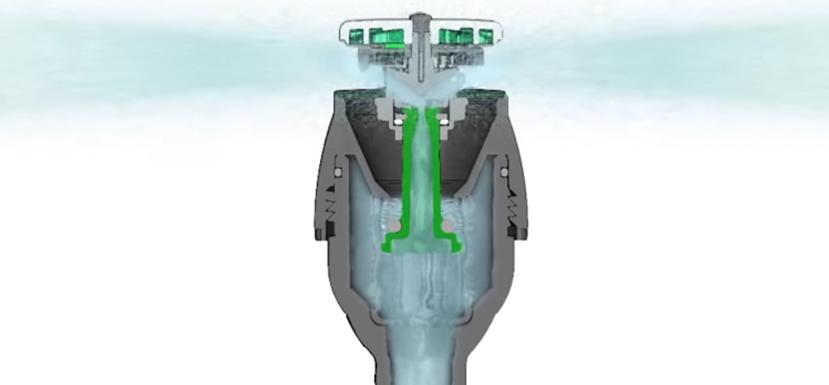 Unikalna, symetryczna konstrukcja zapewnia równomierne rozprowadzenie wody